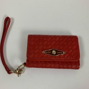 Elliott Lucca Red Woven Leather Gold Accents